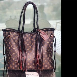 Louis Vuitton Customized Neverfull GM braid fringe